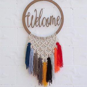 """Welcome""  Hanging Boho Tassel Macrame Wall Decor"